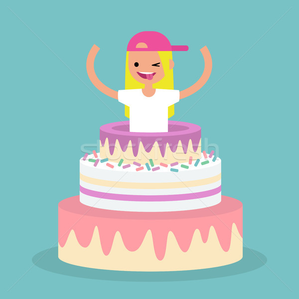 Jonge vrouwelijke karakter springen uit cake Stockfoto © nadia_snopek