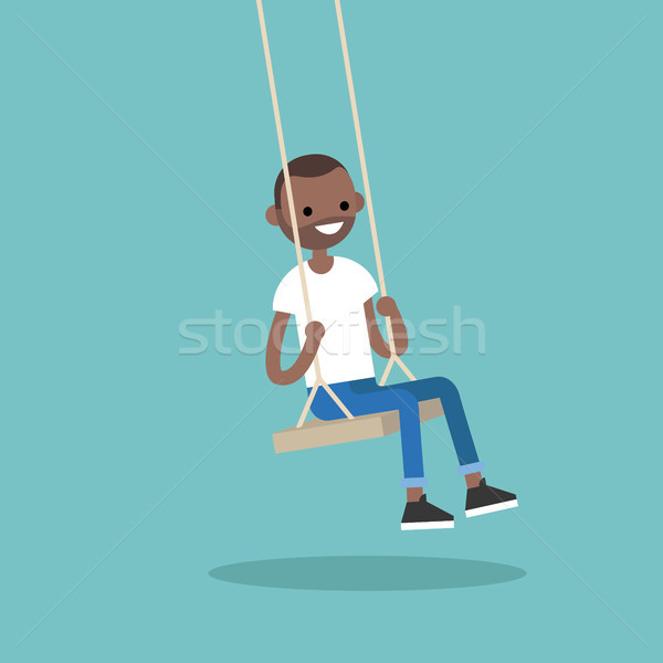 Young black guy sitting on the swing / editable flat vector illu Stock photo © nadia_snopek