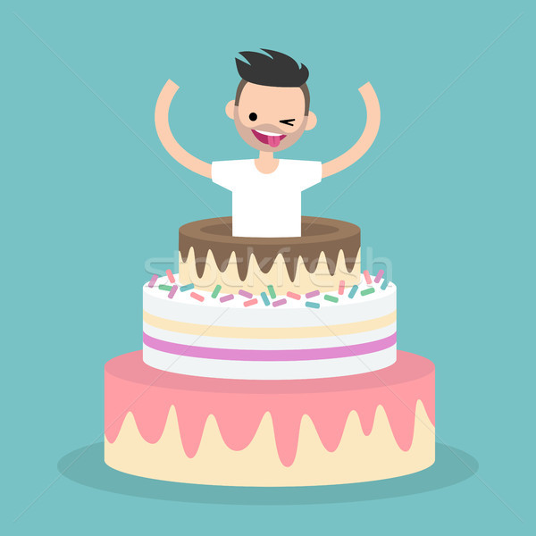 Young character jumping out of a cake / flat editable vector ill Stock photo © nadia_snopek
