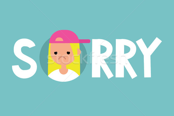 Sorry illustrated sign. Apologize. Flat editable vector sign, cl Stock photo © nadia_snopek