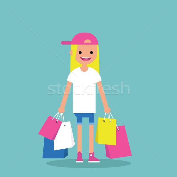 Young trendy girl holding shopping bags / flat editable vector i Stock photo © nadia_snopek