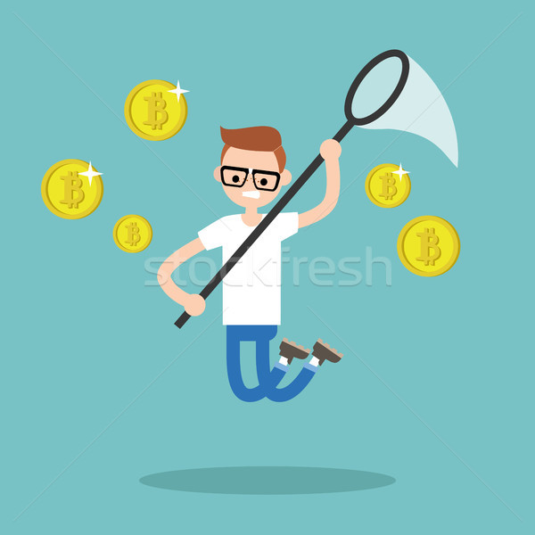 Young male character mining bitcoins. Conceptual illustration, c Stock photo © nadia_snopek