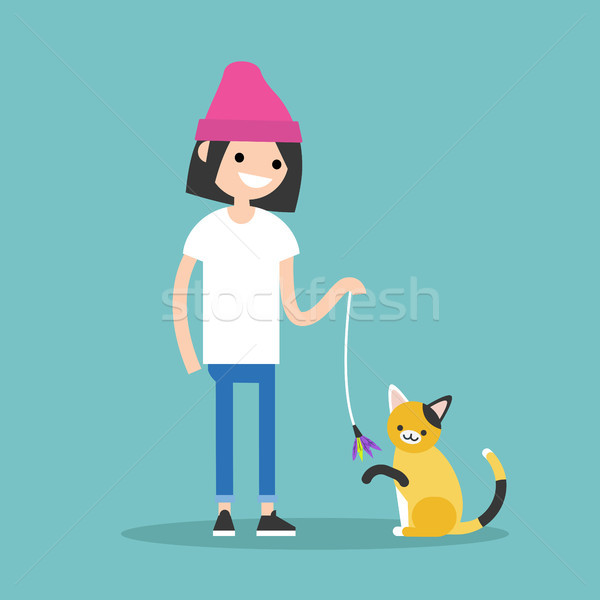 Young female character playing with a cat / flat editable vector Stock photo © nadia_snopek