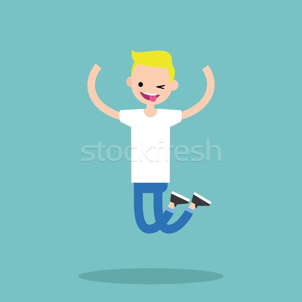 молодые прыжки мальчика Сток-фото © nadia_snopek