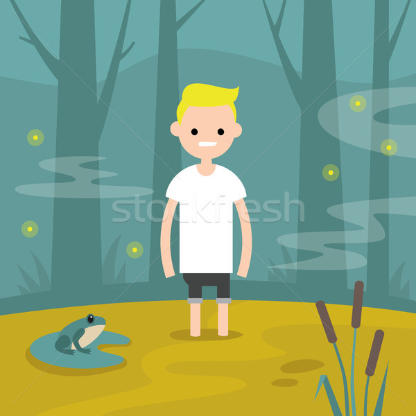 Young character stuck in the swamp / flat editable vector illust Stock photo © nadia_snopek