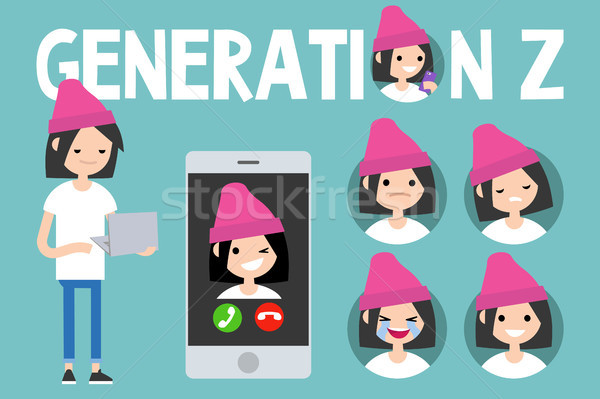 Stock photo: Generation Z conceptual set. sign, full length millennial girl c