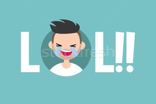 Lol geïllustreerd teken lachend uit luid Stockfoto © nadia_snopek