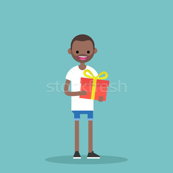 Jovem feliz homem negro brilhante caixa de presente Foto stock © nadia_snopek
