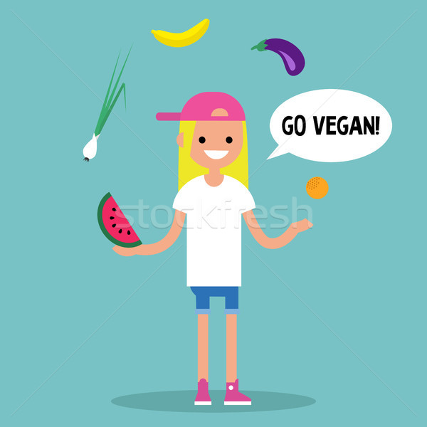 Modern lifestyle. Go vegan. Young blond girl juggling fruits and Stock photo © nadia_snopek