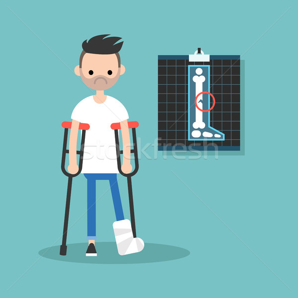 Disabled bearded man on crutches with broken leg / editable vect Stock photo © nadia_snopek