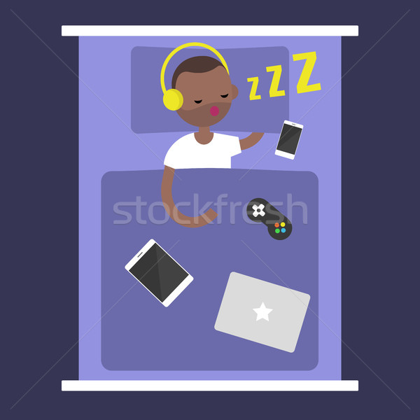 New Technologies Addiction. young black man sleeping with all hi Stock photo © nadia_snopek