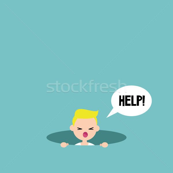 Young blond boy calling for help in the pit / editable flat vect Stock photo © nadia_snopek