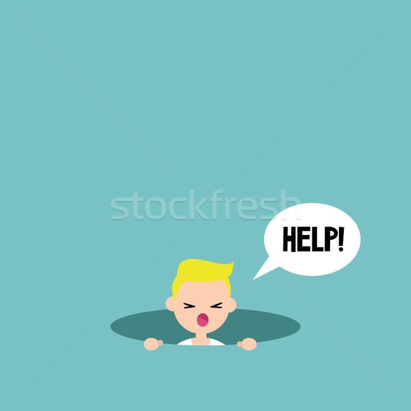 Fiatal szőke fiú hív segítség szerkeszthető Stock fotó © nadia_snopek