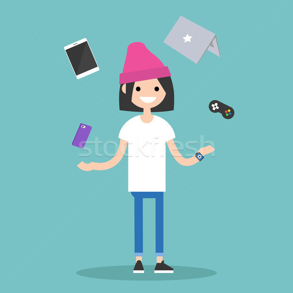 Young girl juggling electronic devices / editable flat vector il Stock photo © nadia_snopek