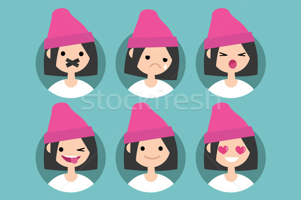 Millennial girl profile pics / Set of flat vector portraits. tap Stock photo © nadia_snopek
