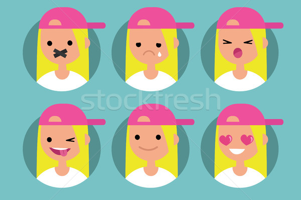 Millennial blonde girl profile pics / Set of flat vector portrai Stock photo © nadia_snopek