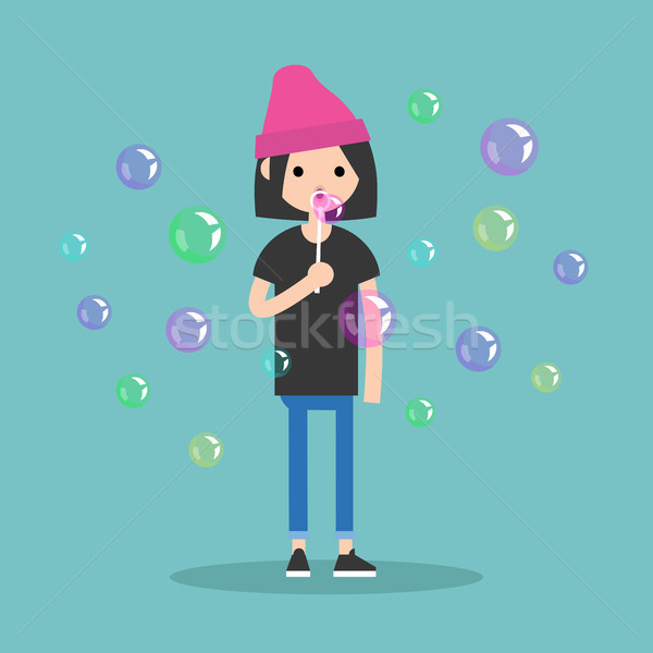 Young female character blowing soap bubbles / flat editable vect Stock photo © nadia_snopek