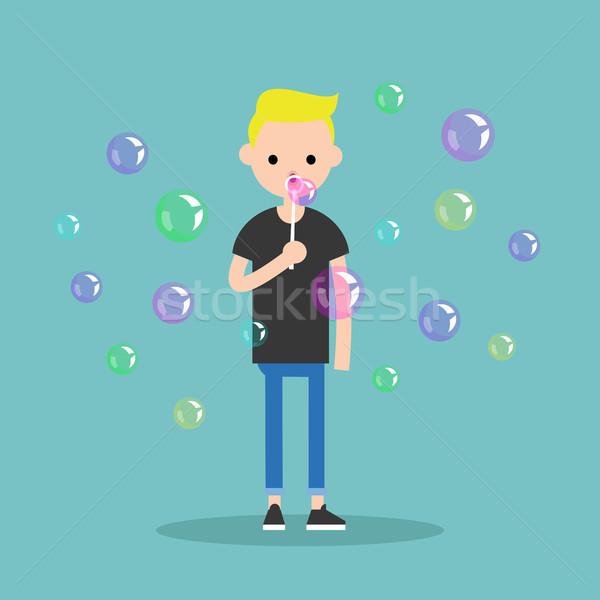 молодые характер мыльные пузыри вектора Сток-фото © nadia_snopek