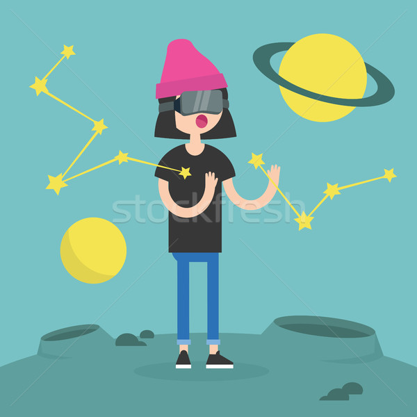 Young girl wearing virtual reality glasses surrounded by planets Stock photo © nadia_snopek