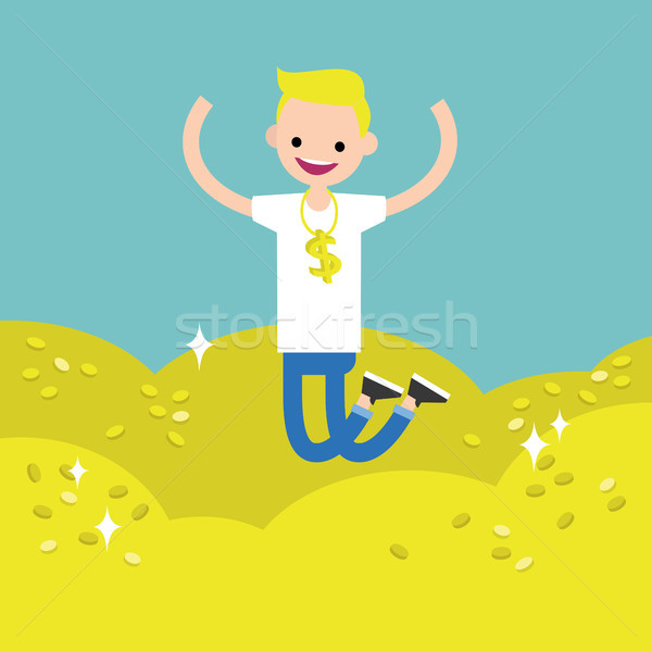 Wallow in money conceptual illustration: young lucky blond boy j Stock photo © nadia_snopek
