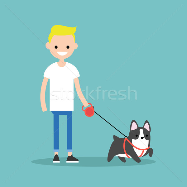 Young smiling blond boy walking the dog / flat editable vector i Stock photo © nadia_snopek