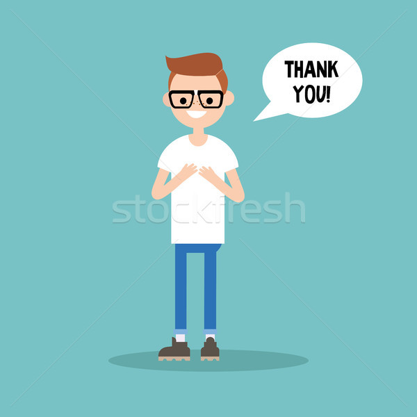 Young grateful nerd says 'Thank you' / flat editable vector illu Stock photo © nadia_snopek