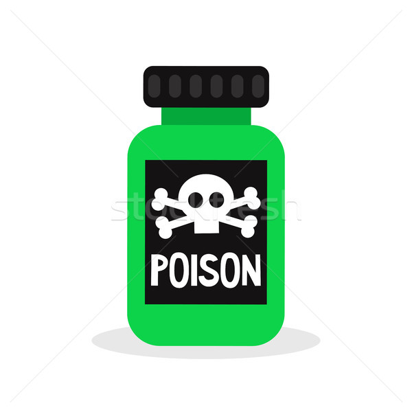 Green bottle with a poison sign / flat editable vector illustrat Stock photo © nadia_snopek