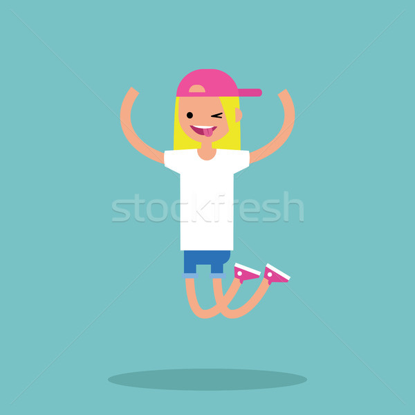 Young winking jumping girl / flat editable vector illustration Stock photo © nadia_snopek