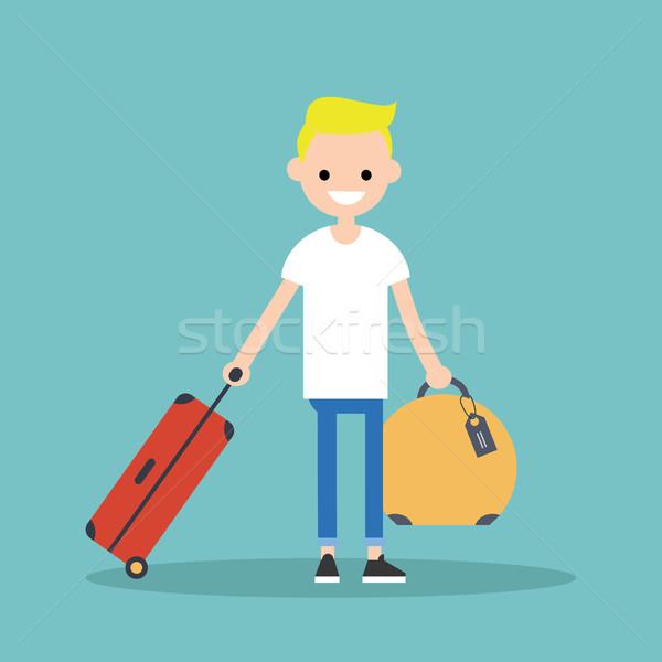 Fiatal szőke fiú utazás csomagok szerkeszthető Stock fotó © nadia_snopek