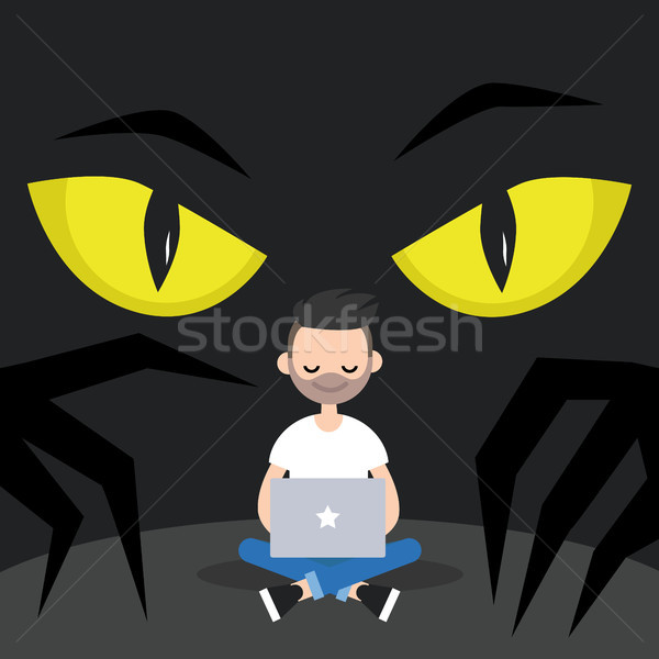Stealing data conceptual illustration. Big yellow eyes spying be Stock photo © nadia_snopek