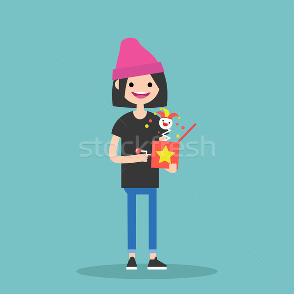Young female character holding a Jack in the box / flat editable Stock photo © nadia_snopek