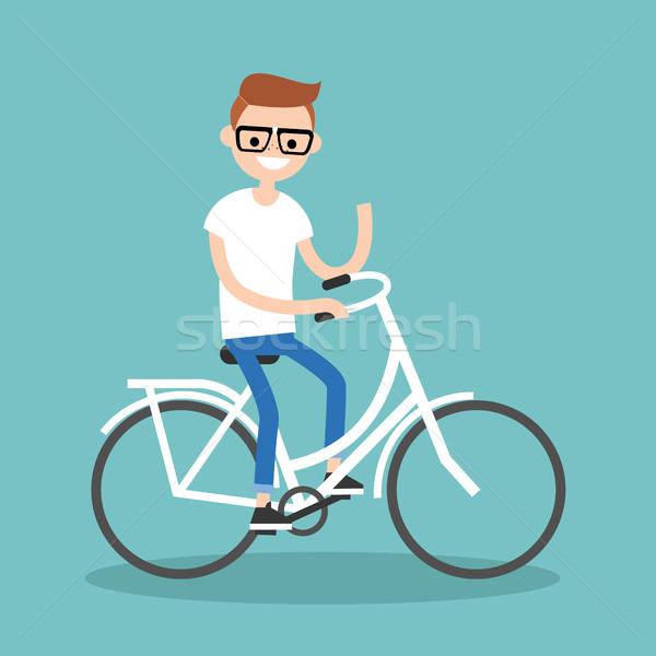 молодые NERD верховая езда велосипедов стороны Сток-фото © nadia_snopek