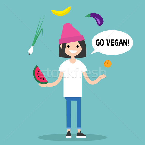 Modern lifestyle. Go vegan. Young character juggling fruits and  Stock photo © nadia_snopek