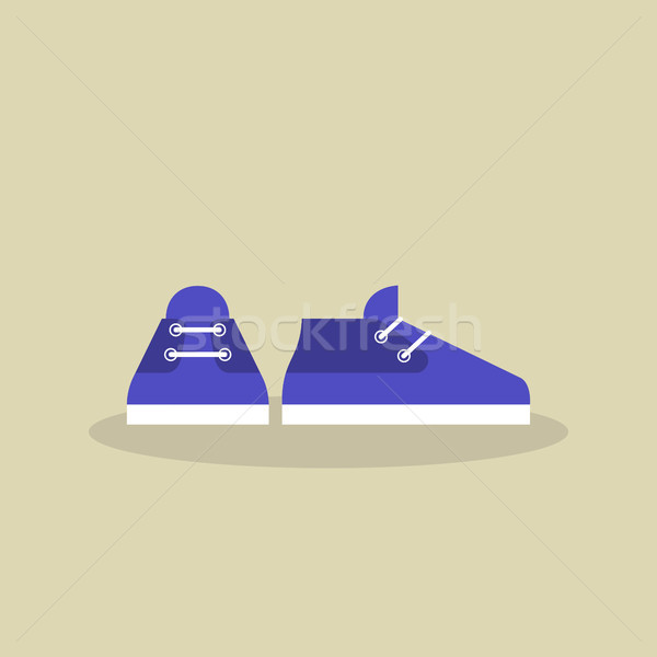 A pair of casual sport shoes icon /  flat vector illustration Stock photo © nadia_snopek