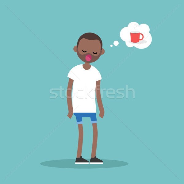Young exhausted black character yawning and thinking about a cup Stock photo © nadia_snopek
