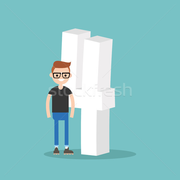 Number four concept. young smiling nerd standing near the number Stock photo © nadia_snopek