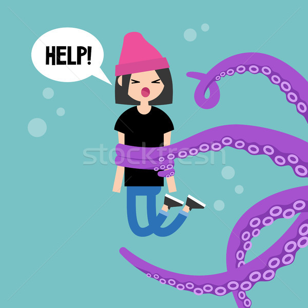 Young screaming female character attacked by octopus / flat edit Stock photo © nadia_snopek
