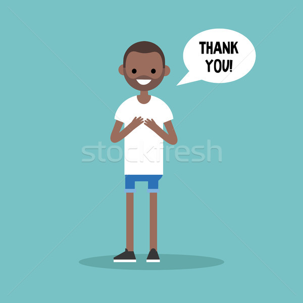 Young grateful black man says 'Thank you' / flat editable vector Stock photo © nadia_snopek