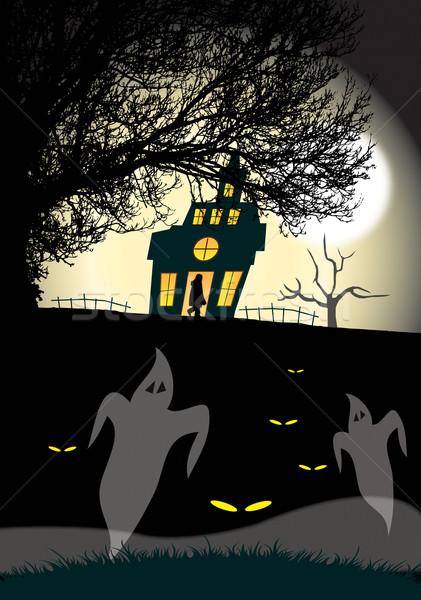 Arrepiante casa ilustração árvore luar Foto stock © naffarts