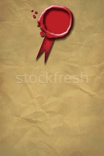 Stock photo: Red Wax Seal on a grunge paper background
