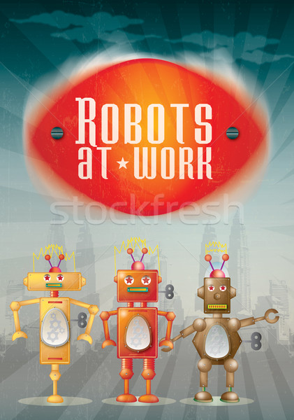 Robot Poster Stock photo © naffarts