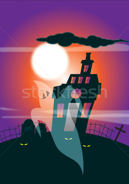 Haunted House and Ghost Stock photo © naffarts