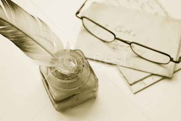 Old letters and Quill Stock photo © naffarts