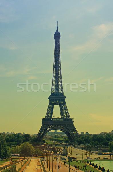 Retro Párizs Franciaország Eiffel-torony hatás 1960-as évek Stock fotó © naffarts