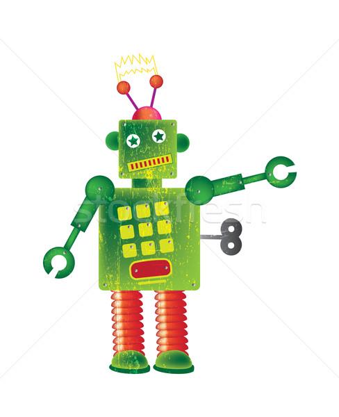 Vert robot carré blanche Photo stock © naffarts