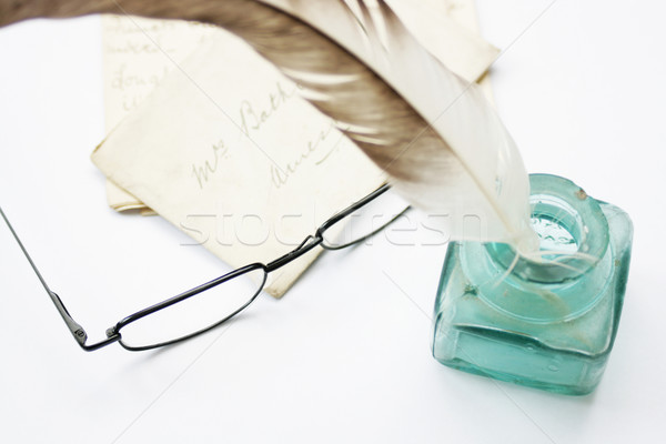 Feathered Quill, ink pot & glasses Stock photo © naffarts