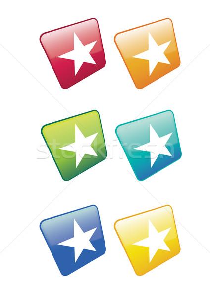White Star Icons Stock photo © naffarts