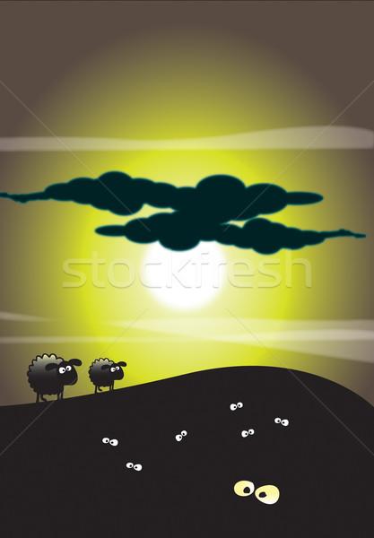 Clair de lune moutons illustration ciel Photo stock © naffarts