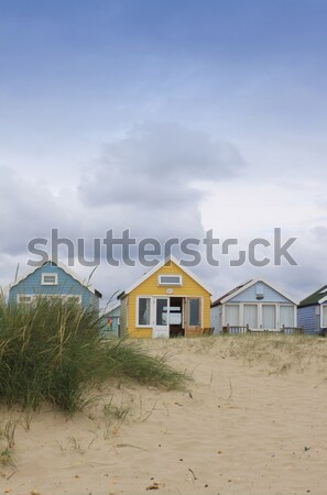 Beach Huts and Rock Stock photo © naffarts