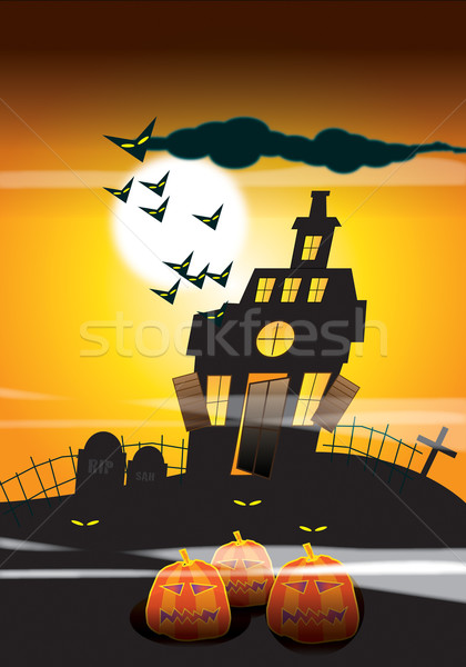 Haunted House and Pumpkins Stock photo © naffarts